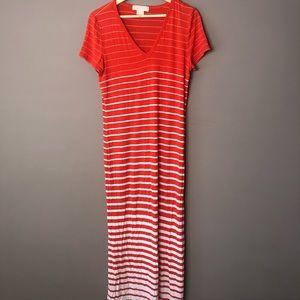 Michael Kors Maxi Dress Large Orange White Striped